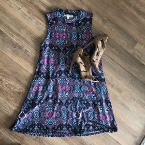 Black + neon paisley sleeveless mini dress
